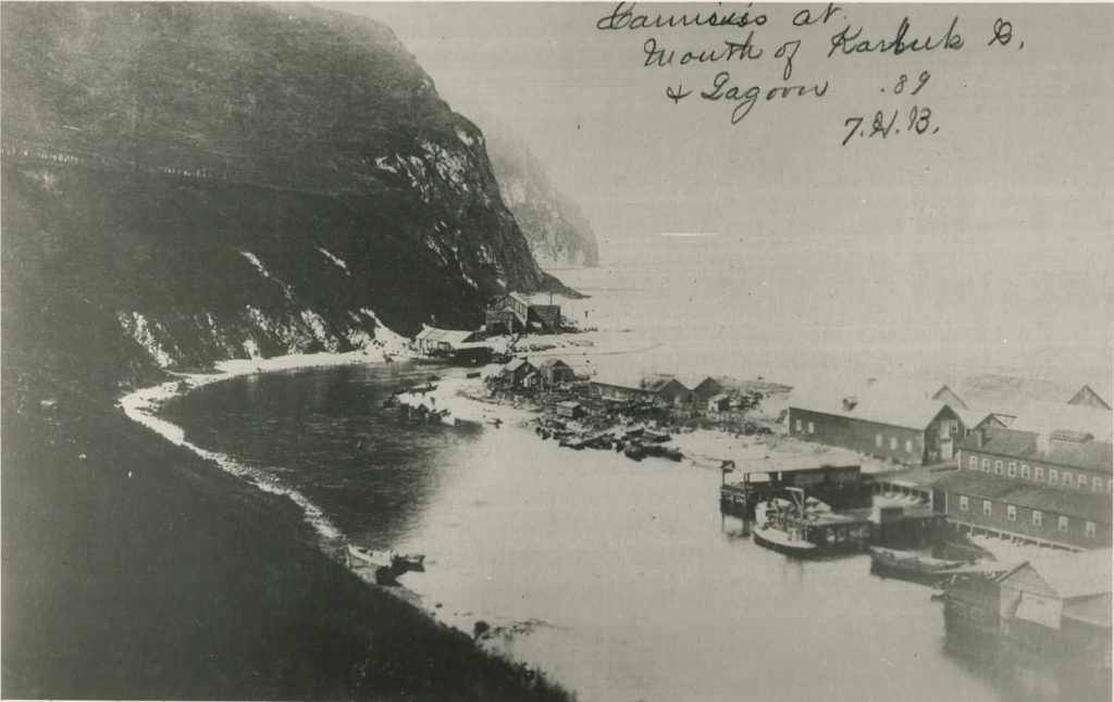 The Alaska Improvement Company cannery is at the mouth of the Karluk River, opposite the Karluk Spit. This photo was taken during the first year that the cannery operated. NARA, Kodiak Historical Society P 356-22.